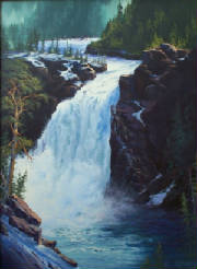 Painting by RLBiddinger-'Spring Thaw-Upper Falls'